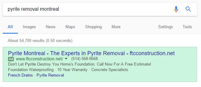 local adwords ad example