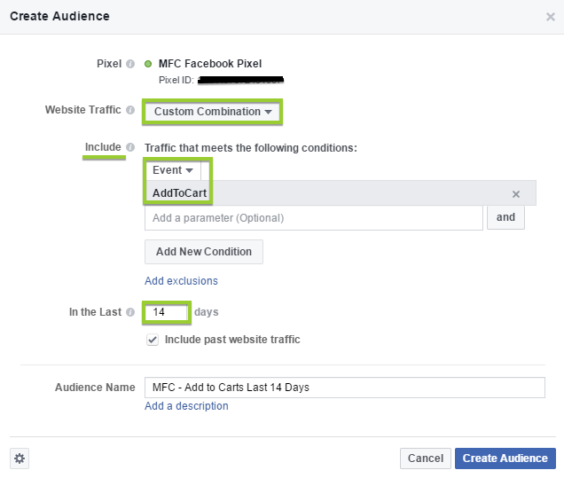 add to cart custom audience facebook
