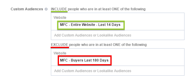 traffic minus buyers custom facebook audience